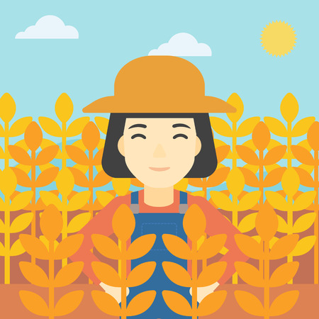 peasant woman: An asian female farmer standing in a wheat field. Young farmer working in a weat field. Vector flat design illustration. Square layout.