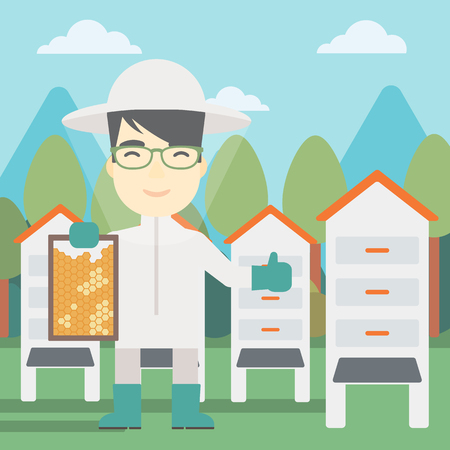 beeswax: An asian farmer wearing protective suit. Bee-keeper holding a framework in hand and showing thumb up on the background of apiary. Vector flat design illustration. Square layout.