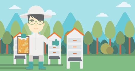 An asian farmer wearing protective suit. Bee-keeper holding a framework in hand and showing thumb up on the background of apiary. Vector flat design illustration. Horizontal layout. Ilustração
