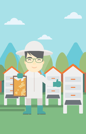 An asian farmer wearing protective suit. Bee-keeper holding a framework in hand and showing thumb up on the background of apiary. Vector flat design illustration. Vertical layout. Ilustração