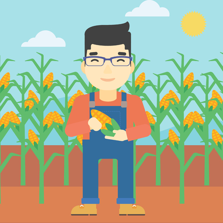 asian farmer: An asian farmer holding a corn cob. Young farmer standing on the background of corn field. Vector flat design illustration. Square layout. Illustration