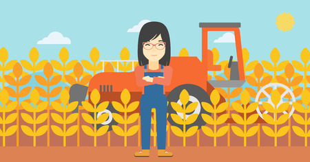 cultivator: An asian female farmer standing on the background of combine harvesting wheat. Young farmer working on a wheat field. Vector flat design illustration. Horizontal layout.