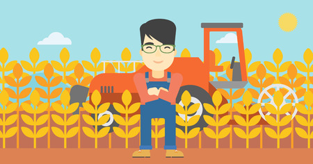 asian farmer: An asian farmer standing on the background of combine harvesting wheat. Young farmer working on a wheat field. Vector flat design illustration. Horizontal layout.