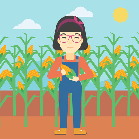 corn on the cob: An asian female farmer holding a corn cob. Young farmer standing on the background of corn field. Vector flat design illustration. Square layout.