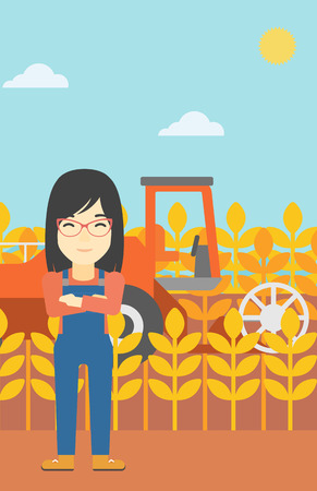 harvesting: An asian female farmer standing on the background of combine harvesting wheat. Young farmer working on a wheat field. Vector flat design illustration. Vertical layout.