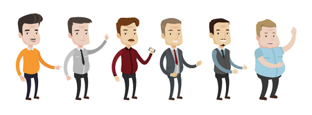 Set of illustrations of middle aged man giving thumbs up, showing peace sign, waving hand, using smartphone, pointing the forefinger. Vector illustration isolated on white background. Иллюстрация