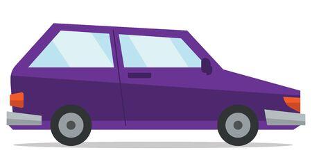 purple car: Small purple car vector flat design illustration isolated on white background. Illustration