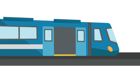 Modern high speed train with open doors vector flat design illustration isolated on white background.
