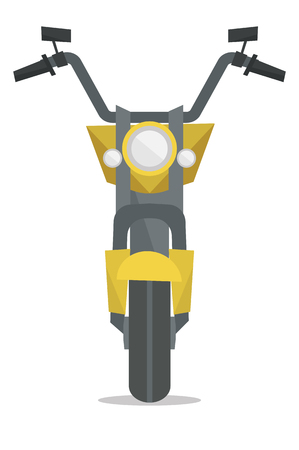 front view: Front view of small classic retro motorcycle vector flat design illustration isolated on white background.