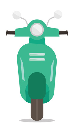 mini bike: Front view of modern classic scooter vector flat design illustration isolated on white background. Illustration
