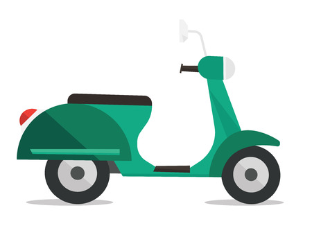 mini bike: Side view of modern classic scooter vector flat design illustration isolated on white background.