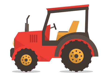 Tracteur. Classique agricole vecteur machines design plat illustration isolé sur fond blanc. Banque d'images - 59853965