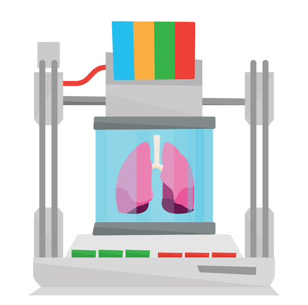 Tree D printer making a lungs vector flat design illustration isolated on white background. Illustration