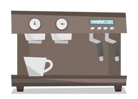 Modern coffee machine vector flat design illustration isolated on white background. Ilustração