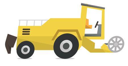 combine harvester: Modern combine harvester vector flat design illustration isolated on white background.