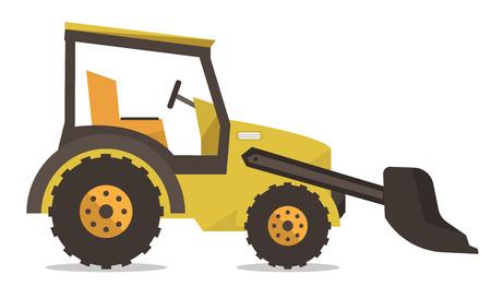 Large yellow bulldozer vector flat design illustration isolated on white background. Stock Illustratie