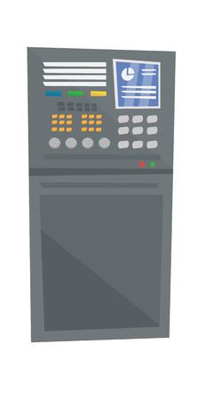 complex system: Industrial control panel vector flat design illustration isolated on white background.