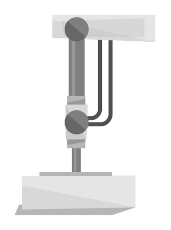 conveyor system: Industrial press machine vector flat design illustration isolated on white background.