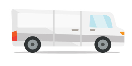 Commercial delivery truck vector flat design illustration isolated on white background.
