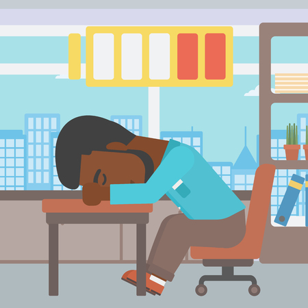 An african-american man sleeping at workplace on laptop keyboard and low power battery sign over his head. Man sleeping in the office. Vector flat design illustration. Square layout.