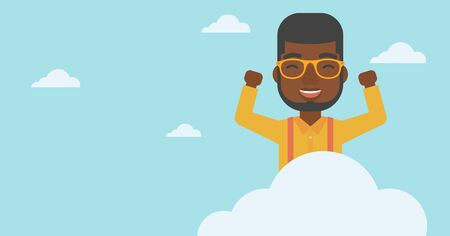 hands raised sky: An african-american happy man with raised hands sitting on a cloud on the background of blue sky. Cloud computing concept. Vector flat design illustration. Horizontal layout. Vectores