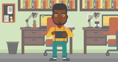 using tablet: An african-american man using a tablet computer. Businessman working with a digital tablet on the background of office. Vector flat design illustration. Horizontal layout. Illustration