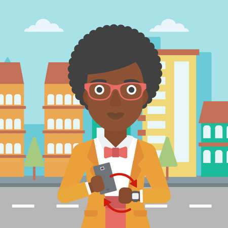 smart woman: An african-american woman  holding a smartphone looking at her smart watch. Synchronization between smartwatch and smartphone. Vector flat design illustration. Square layout.