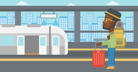African-american young man standing at the train station on the background of train with open doors. Young man with suitcase waiting for a train. Vector flat design illustration. Horizontal layout.