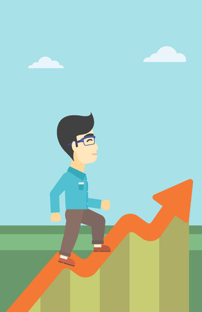 moving up: An asian cheerful businessman running along the growth graph. Happy businessman going up. Man moving up. Successful business concept. Vector flat design illustration. Vertical layout. Illustration