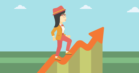 An asian cheerful business woman running along the growth graph. Happy business woman going up. Woman moving up. Successful business concept. Vector flat design illustration. Horizontal layout. Illustration