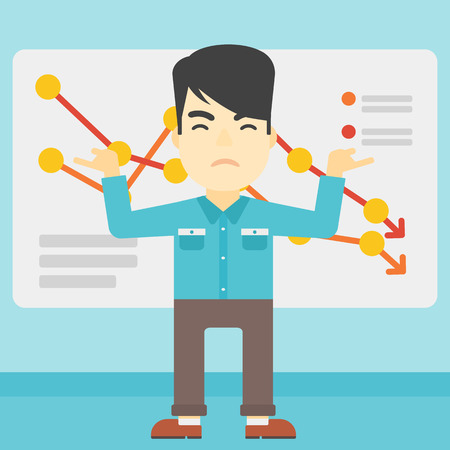 declining: Stressed young asian businessman standing on the background of a board with decreasing chart. Concept of business bankruptcy. Vector flat design illustration. Square layout.