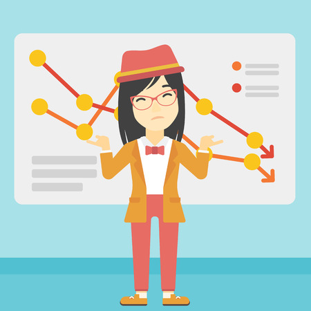 declining: Stressed young asian business woman standing on the background of a board with decreasing chart. Concept of business bankruptcy. Vector flat design illustration. Square layout. Illustration