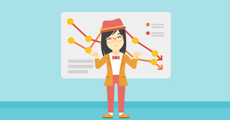 asian business woman: Stressed young asian business woman standing on the background of a board with decreasing chart. Concept of business bankruptcy. Vector flat design illustration. Horizontal layout.