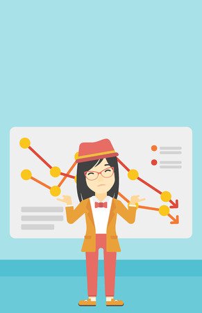 Stressed young asian business woman standing on the background of a board with decreasing chart. Concept of business bankruptcy. Vector flat design illustration. Vertical layout.
