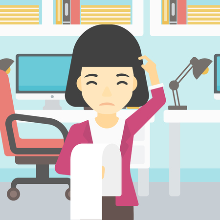 asian business: Young worried asian business woman standing in the office and holding a long bill. Concept of business bankruptcy. Vector flat design illustration. Square layout.