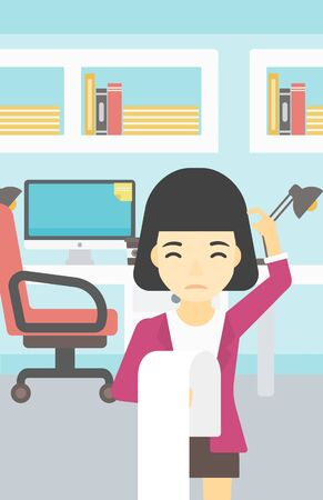 workplace stress: Young worried asian business woman standing in the office and holding a long bill. Concept of business bankruptcy. Vector flat design illustration. Vertical layout.