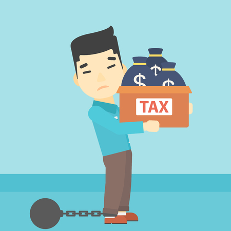 carrying box: Chained to a large ball an asian businessman carrying heavy box with bags full of taxes. Vector flat design illustration. Square layout.