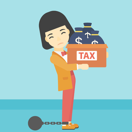 slavery: Chained to a large ball an asian business woman carrying heavy box with bags full of taxes. Vector flat design illustration. Square layout.