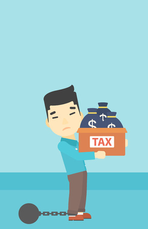 carrying box: Chained to a large ball an asian businessman carrying heavy box with bags full of taxes. Vector flat design illustration. Vertical layout.