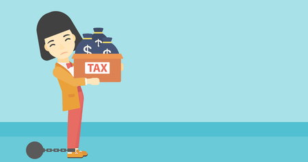 shackles: Chained to a large ball an asian business woman carrying heavy box with bags full of taxes. Vector flat design illustration. Horizontal layout. Illustration
