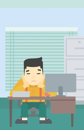 A tired asian tired businessman sitting at workplace in front of computer monitor and clutching his head. Vector flat design illustration. Vertical layout. Ilustração