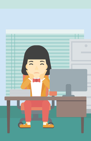 asian business woman: A tired asian business woman sitting at workplace in front of computer monitor and clutching her head. Vector flat design illustration. Vertical layout.