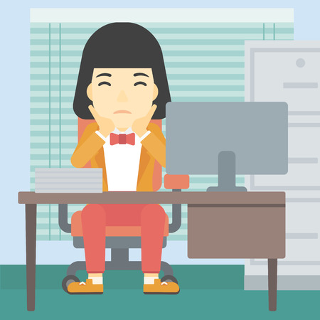 A tired asian business woman sitting at workplace in front of computer monitor and clutching her head. Vector flat design illustration. Square layout.