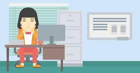 asian business woman: A tired asian business woman sitting at workplace in front of computer monitor and clutching her head. Vector flat design illustration. Horizontal layout.
