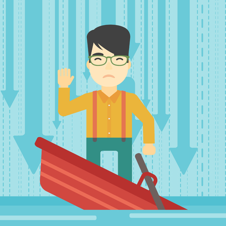 drift: An asian scared businessman standing in a sinking boat and asking for help. Concept of business bankruptcy. Vector flat design illustration. Square layout.