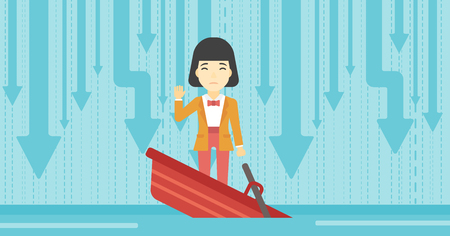 asian business: An asian business woman standing in a sinking boat and asking for help. Concept of business bankruptcy. Vector flat design illustration. Horizontal layout.