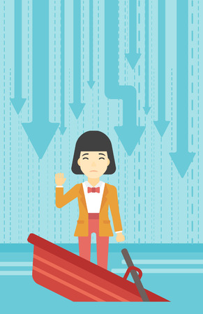 asian business: An asian business woman standing in a sinking boat and asking for help. Concept of business bankruptcy. Vector flat design illustration. Vertical layout.