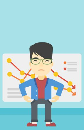 decreasing: An asian young businessman showing his epmty pockets on the background of board with decreasing chart. Bankruptcy concept. Vector flat design illustration. Vertical layout.