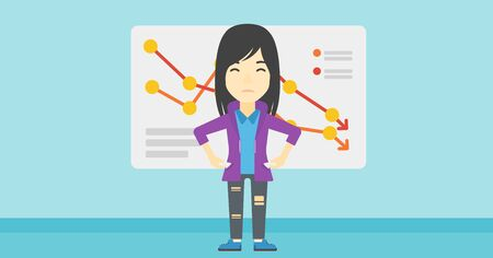 An asian young business woman showing her epmty pockets on the background of a board with decreasing chart. Bankruptcy concept. Vector flat design illustration. Horizontal layout. Illustration