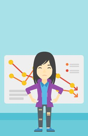 An asian young business woman showing her epmty pockets on the background of a board with decreasing chart. Bankruptcy concept. Vector flat design illustration. Vertical layout.